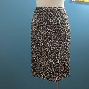 LOFT Leopard print pencil skirt